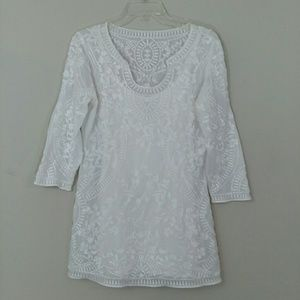 WHBM White Embroidered Lace Tunic Size S